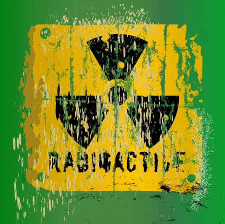 nuclear warning , grungy radiation sign Vector
