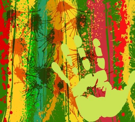 manos sucias: fondo de la pintura abstracta con impresión de la mano