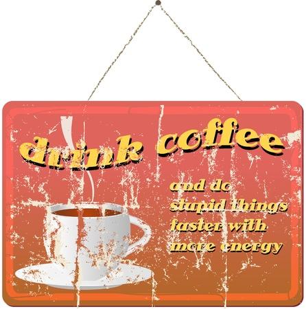 shop sign: vintage coffee shop sign, vector illustration