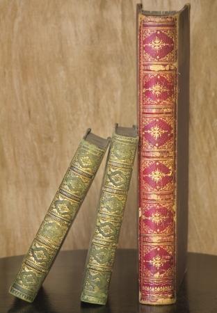 book spine: close up of vintage books