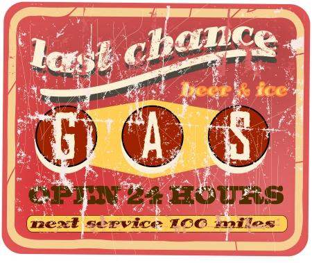 vector vintage: Vintage gas station sign, vector illustration Illustration