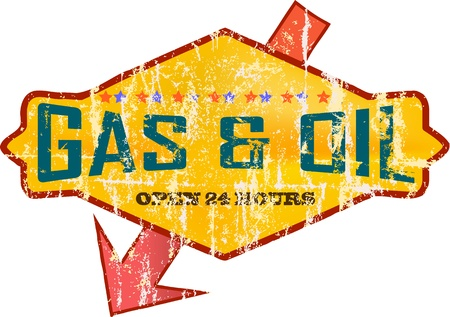 Gas Vintage signo estaci�n Vectores