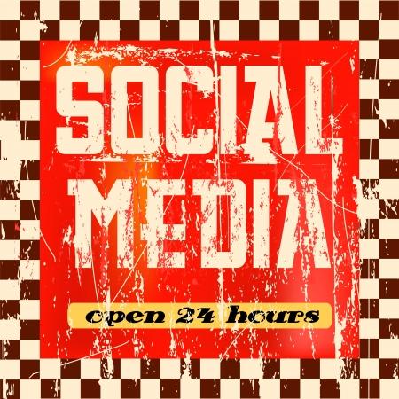 social networking: Vintage social media segno Vettoriali