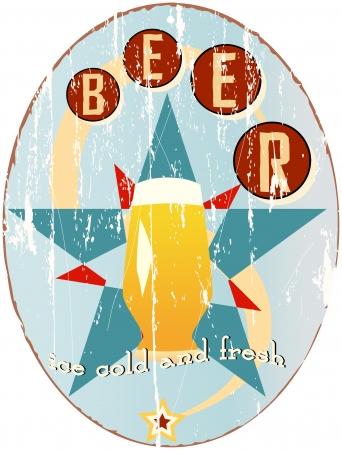worn sign: signo cerveza vintage, ilustraci�n vectorial