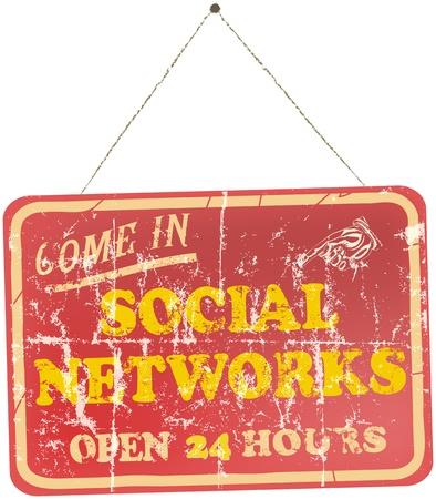 vintage social networks sign Vector
