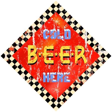 beer tap: vintage beer sign, vector illustration