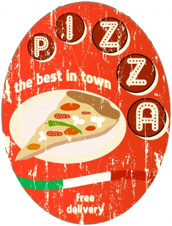 vintage pizza sign Vector