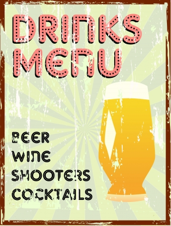 Drinks menu, vintage style, free copy space Vector