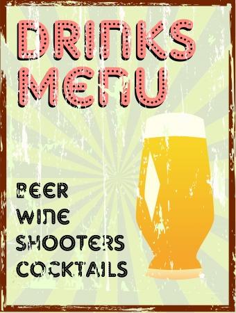 beer card: Drinks menu, vintage style, free copy space Illustration