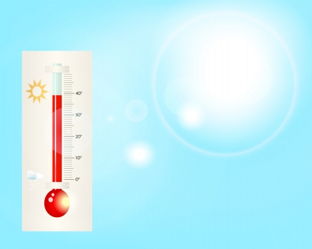 summer heat, illustration, with thermometer against blue sky, vector Vector