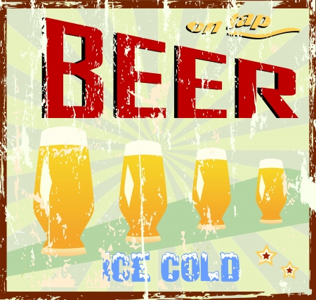 worn sign: signo cerveza vendimia Vectores