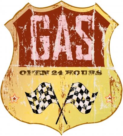 gasolinera: Gas Vintage signo estación Vectores