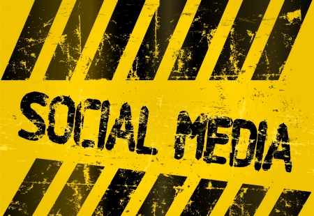 bookmarking: grungy social media sign, w  hazard stripes