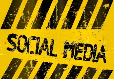 wikis: grungy social media sign, w  hazard stripes
