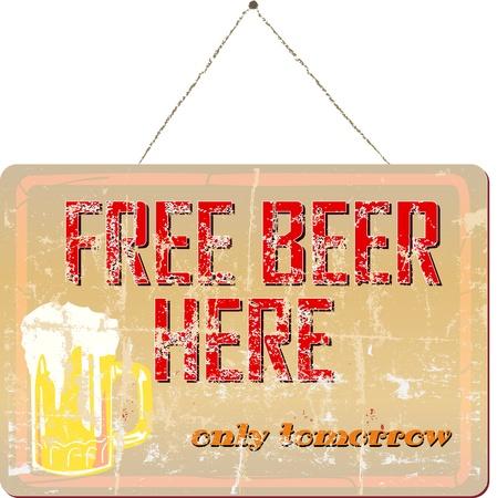 beer tap: Vintage bar sign, grungy,