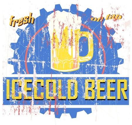imperfections: vintage beer sign, advertisement, or bar logo Illustration