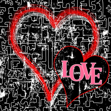 Love and heart, grungy style illustration,vector Stock Vector - 15303328