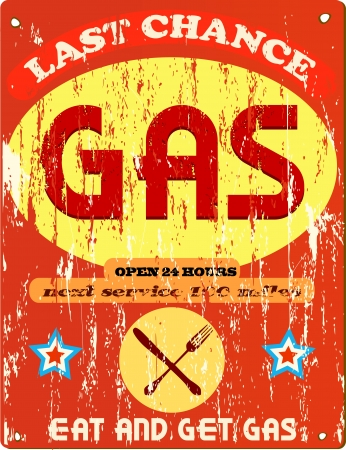 Vintage gas station and diner sign, vector illustration Ilustrace