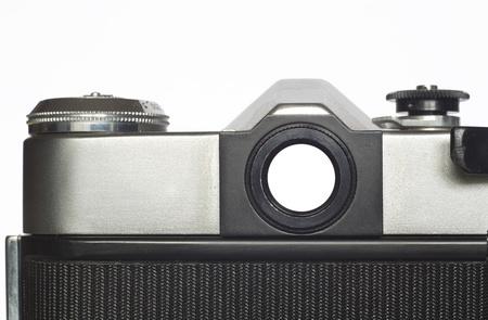 viewfinder vintage: Viewfinder of a vintage analog SLR camera, isolated, free copy space