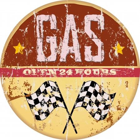 Gas Vintage signo estación, ilustración vectorial