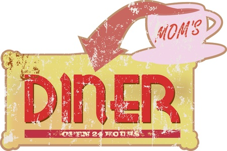 caf: Vintage diner sign scalable to any size Illustration