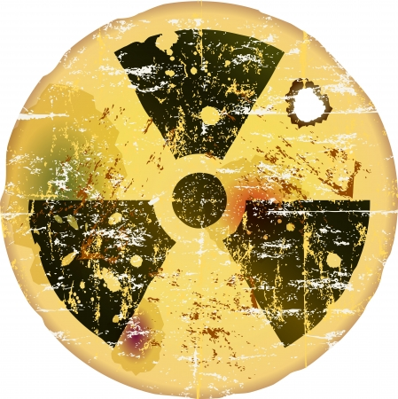 nuclear bomb: nuclear warning, grungy radiation sign  Illustration