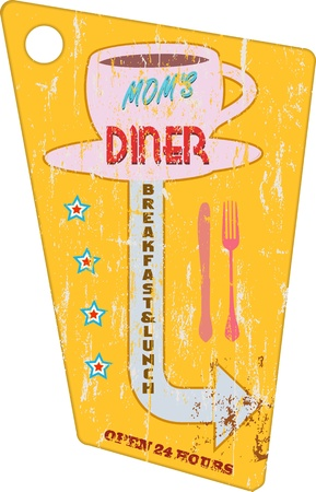 caf: Vintage diner sign, vector illustration, scalable to any size