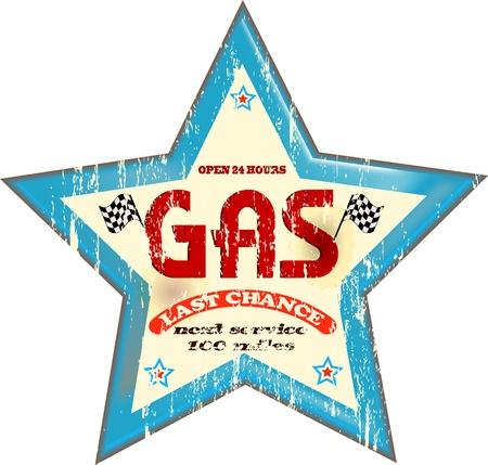 damaged car: Vintage gas station sign, vector illustration Illustration