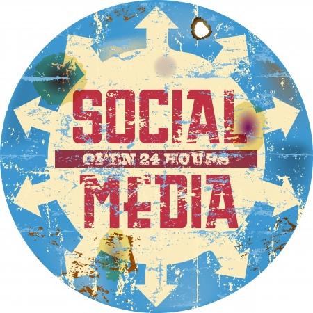 social media marketing: vintage social media sign, button or icon, grungy Illustration