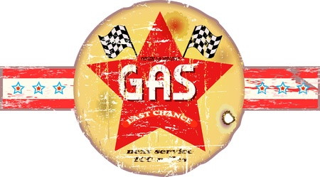 Vintage gas station sign Vector