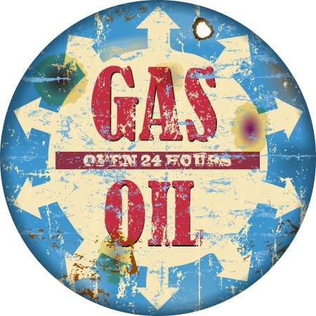 petroleum blue: Vintage gas station sign, illustration Illustration