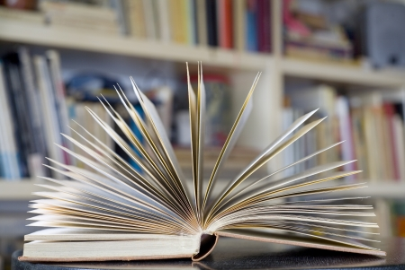 opened book close up with bookshelf in the back, selective focus Stock Photo - 15572343