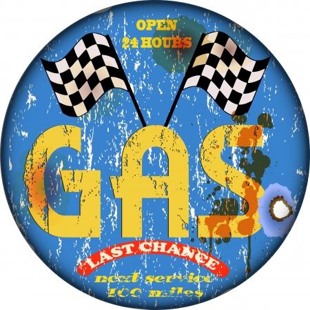 gas station: Vintage gas station sign, vector illustration Illustration