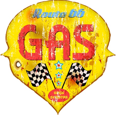 Vintage gas station sign, illustration  Vector