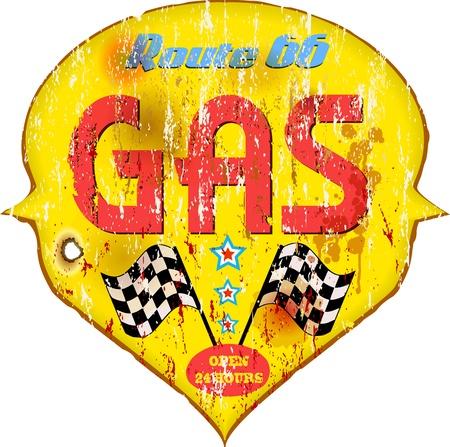vintage car: Vintage gas station sign, illustration