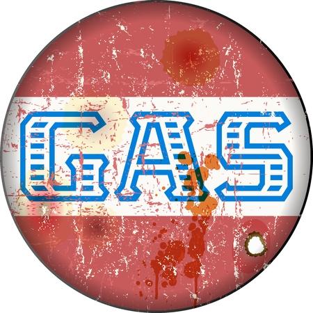 gases: Vintage gas station sign, illustration