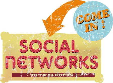 vintage social networks sign or button, grungy Stock Vector - 15697152