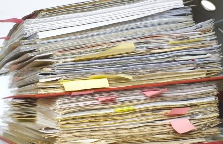 disorganization: file folder, close up, a little bit messy