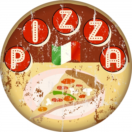 pizza delivery: vintage pizza sign or menu cover