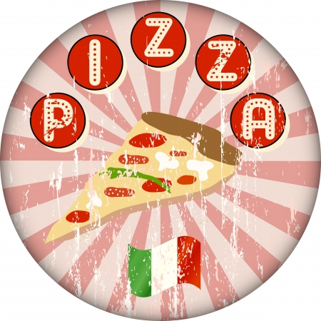 vintage pizza sign or menu cover Vector