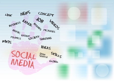 bookmarking: Social media and network, free copy space Illustration