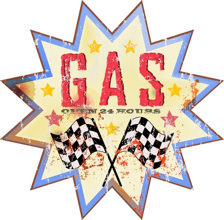 classic cars: Vintage gas station sign, illustration Illustration