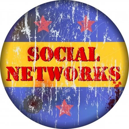 vintage social media sign or button, grungy Stock Vector - 16060267