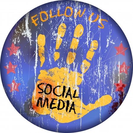 vintage social media sign or button, grungy Stock Vector - 16137527