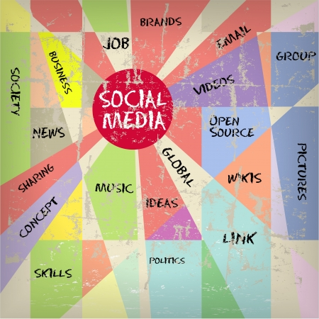 bookmarking: Social media and network illustration, vintage and grungy