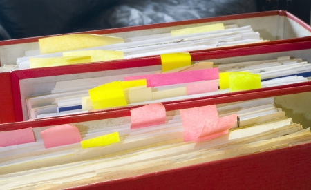 disorganization: file folders, office folders, close up