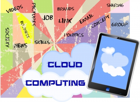 Cloud computing concept (fictional tablet design) Stock Vector - 16244626