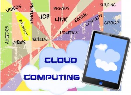 Cloud computing concept (fictional tablet design) Stock Vector - 16244626