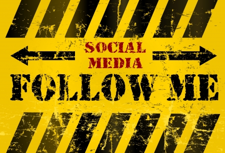 wikis: grungy &Follow Me social media sign or button, industrial style