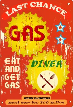 Vintage station d'essence et le dîner signe, illustration Illustration